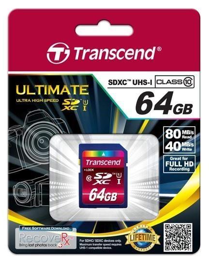 Transcend karta pamięci SDXC 64GB Class 10 UHS-I ULTIMATE ( 40/80 MB/s )
