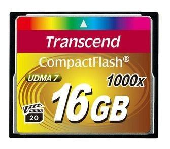 Transcend karta pamięci 16GB Compact Flash 1000x (Odczyt 160MB/s ,zapis 70MB/s)