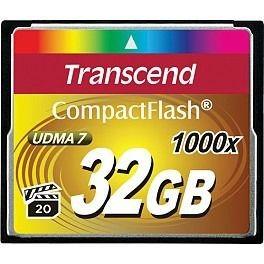 Transcend karta pamięci 32GB Compact Flash 1000x (Odczyt 160MB/s ,zapis 70MB/s)