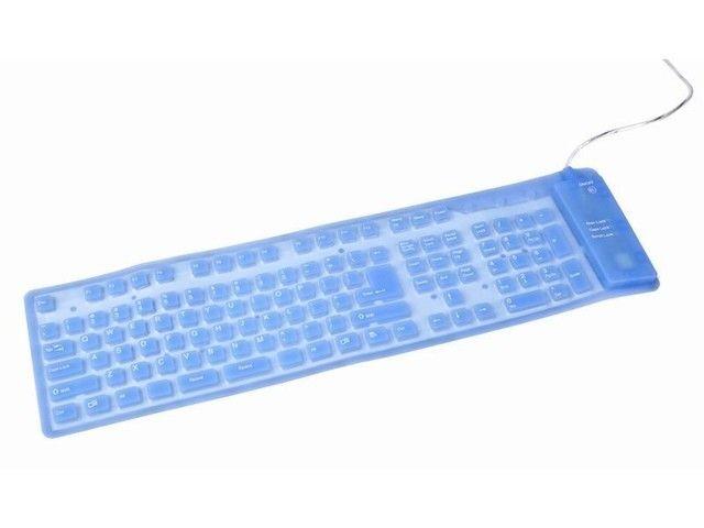 Gembird podświetlana silikonowa wodoodporna klawiatura USB+PS2, niebieska