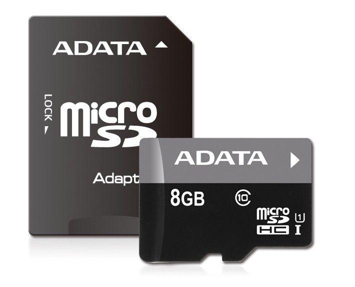 A-Data karta pamięci micro SDHC 8GB Class 10 UHS-I + Adapter (Video Full HD)