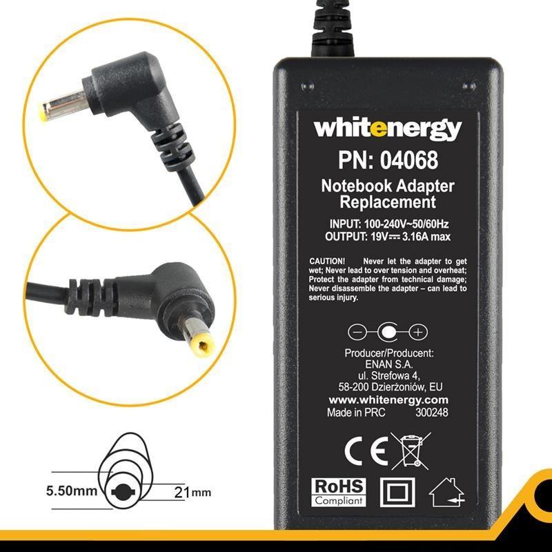 Whitenergy zasilacz sieciowy Acer 19V/3.16A 60W (wtyczka 5.5x2.1 mm)