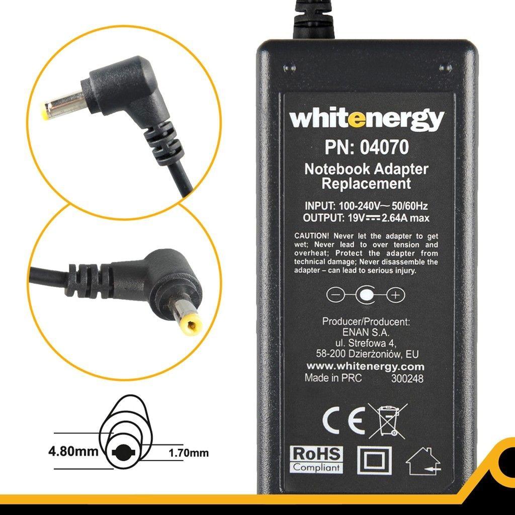 Whitenergy zasilacz sieciowy Asus/Acer/Toshiba 19V/2.64A 50W (wtyczka 4,7x1,7 mm)