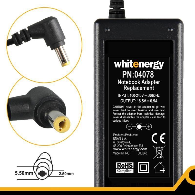 Whitenergy zasilacz sieciowy HP/Compaq 18.5V/6.5A 120W (wtyczka 5.5x2.5 mm)
