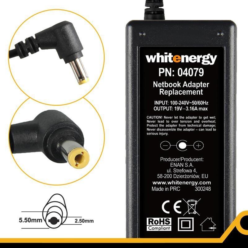 Whitenergy zasilacz sieciowy HP/Compaq 19V/3.16A 60W (wtyczka 5.5x2.5 mm)