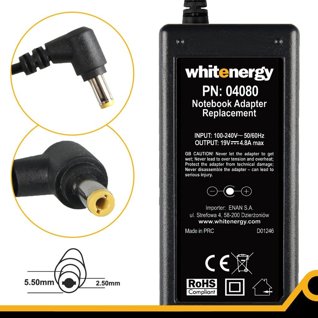 Whitenergy zasilacz sieciowy Compaq 19V/4.8A 90W (wtyczka 5.5x2.5 mm)