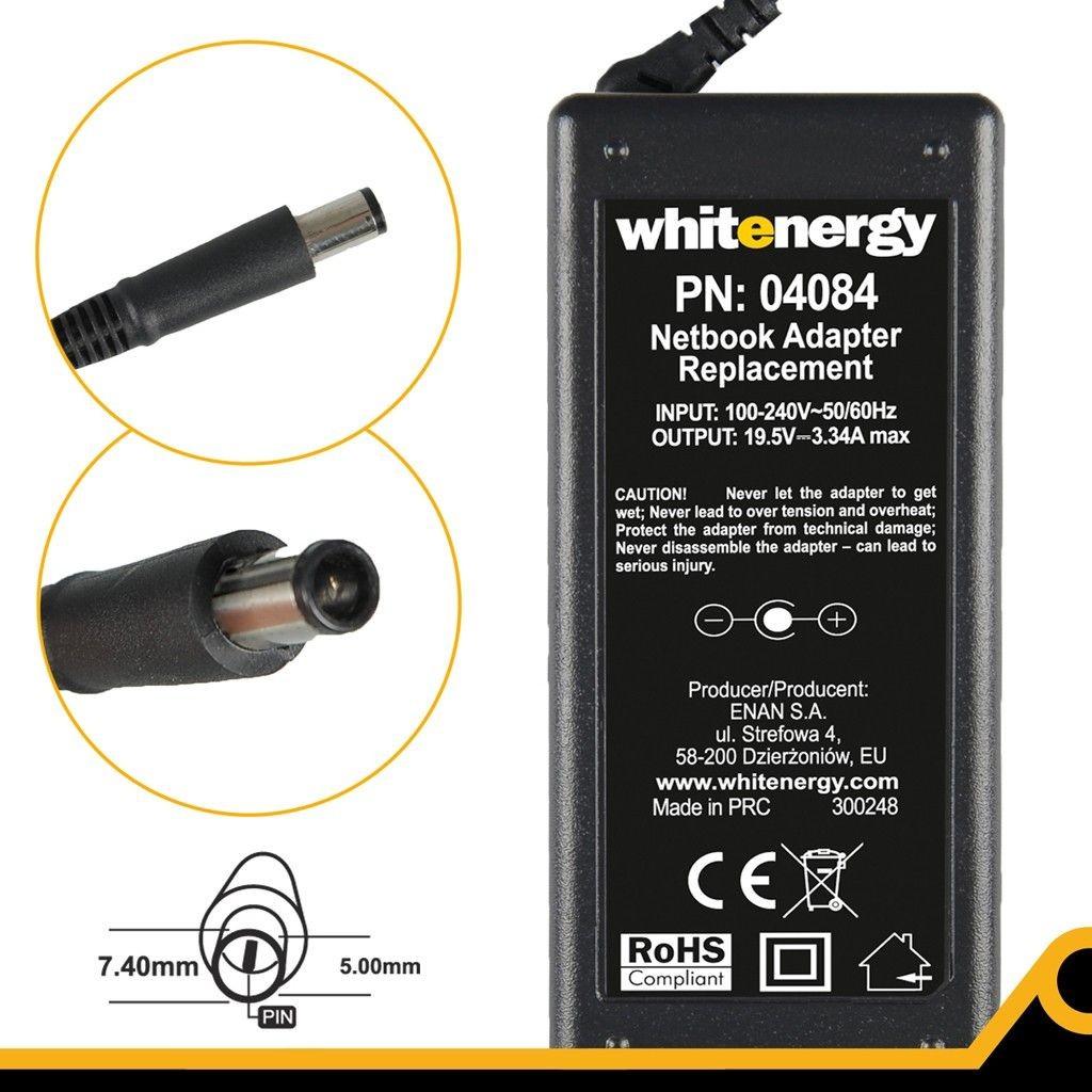 Whitenergy zasilacz sieciowy Dell 19.5V/3.34A 65W (wtyczka 7.4x5.0 mm + pin)