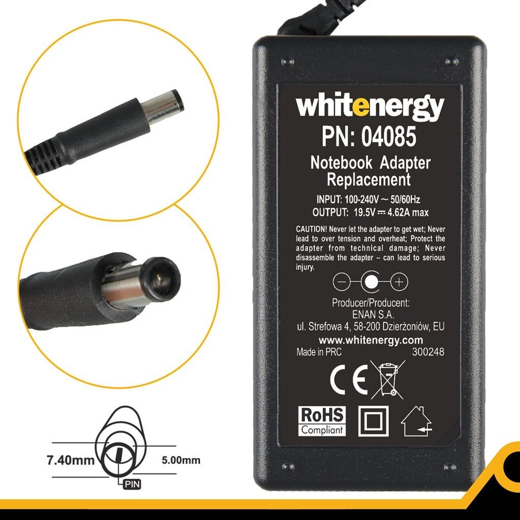 Whitenergy zasilacz 19.5V/4.62A 90W wtyczka 7.4x5.0mm + pin Dell