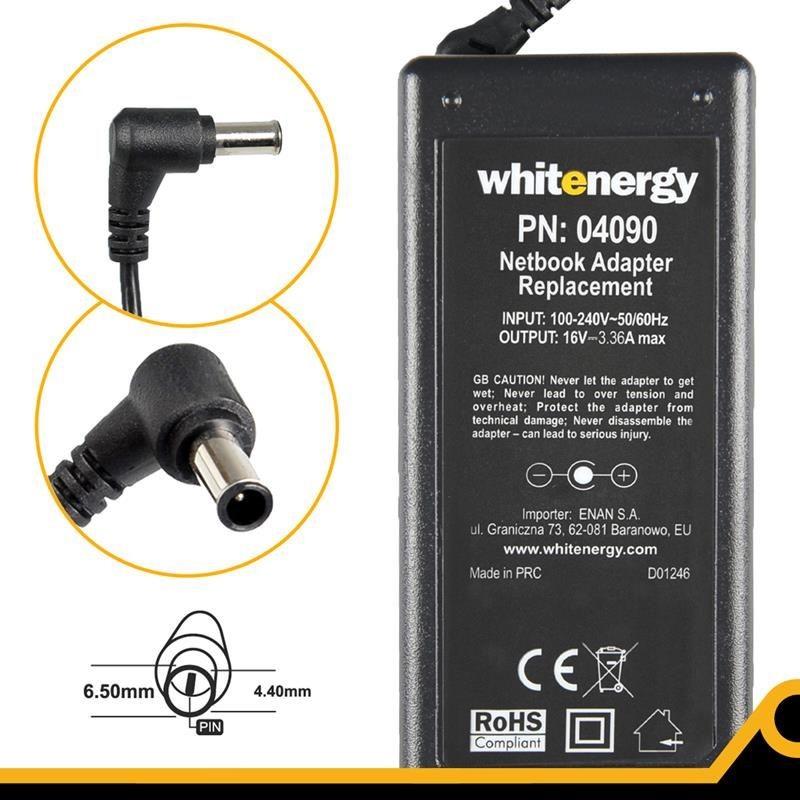 Whitenergy zasilacz sieciowy Fujitsu-Siemens 16V/3.36A 55W (wtyczka 6.5x4.4 mm + pin)