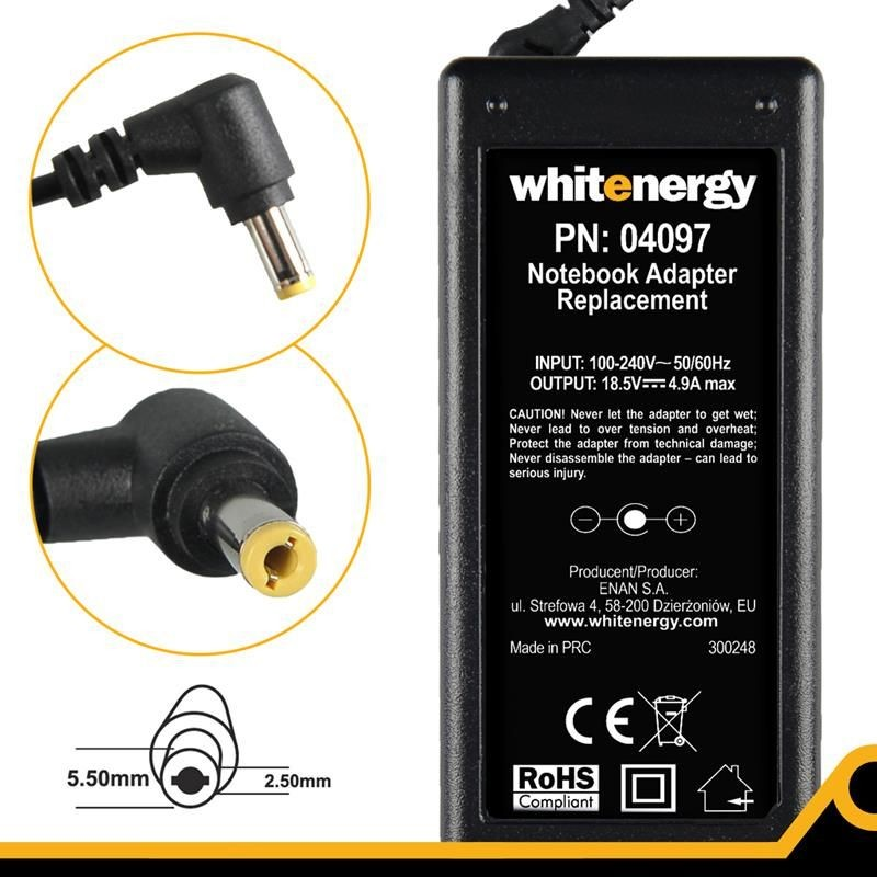 Whitenergy Zasilacz sieciowy do notebooka HP 90W 04097