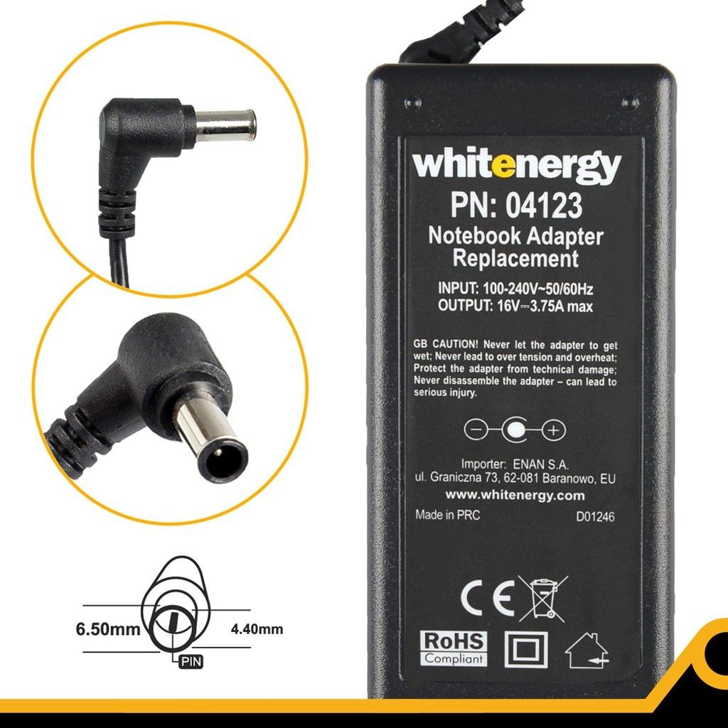 Whitenergy zasilacz sieciowy Sony/Fujitsu-Siemens 16V/3.75A 60W (wtyczka 6.5x4.4 mm + pin)