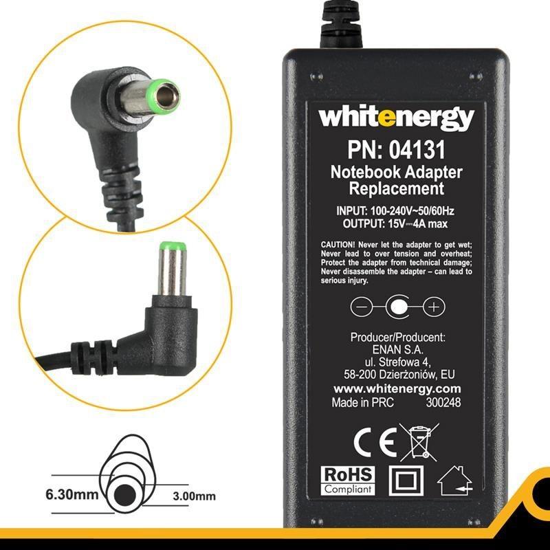 Whitenergy zasilacz sieciowy Toshiba 15V/4A 60W (wtyczka 6.3x3.0 mm)