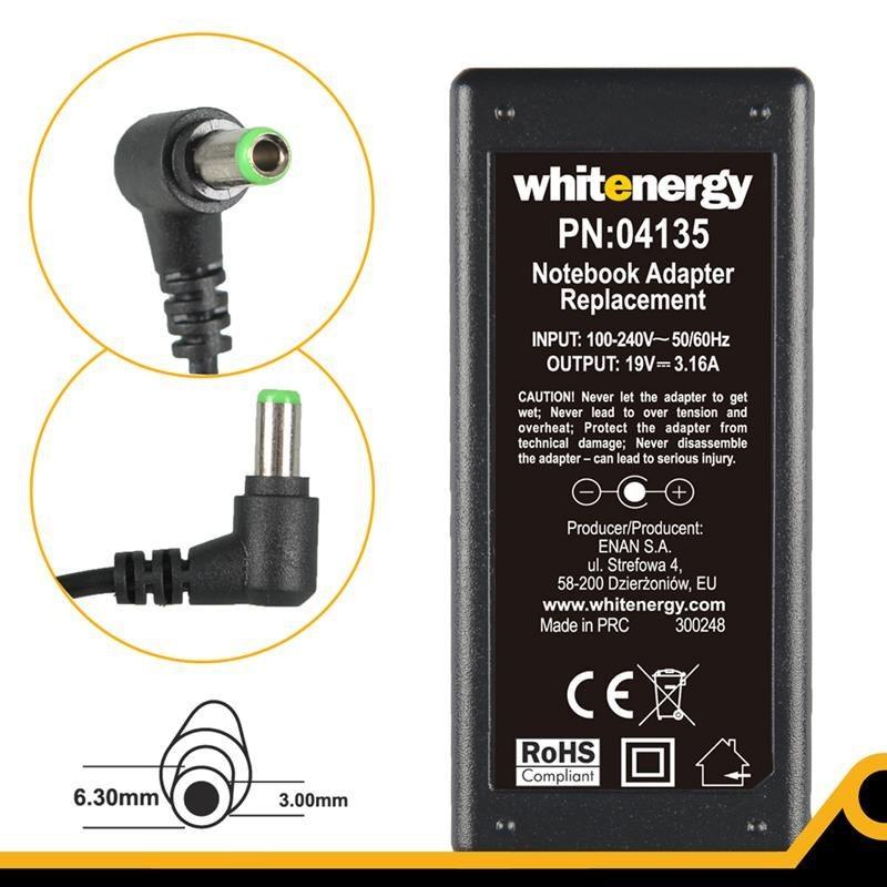 Whitenergy zasilacz sieciowy Toshiba 19V/3.16A 60W (wtyczka 6.3x3.0 mm)