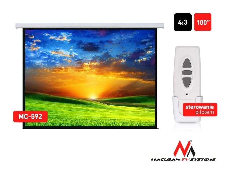 Maclean MC-592 Ekran projekcyjny elektryczny 100 200x150 4:3 ściana lub sufit