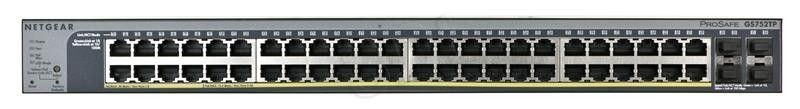 Netgear ProSafe Smart 52-Port PoE, (8xPoE+) 4xSFP Gigabit Switch (GS752TP)