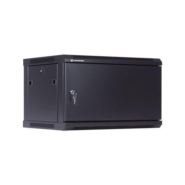 Linkbasic szafa wisząca rack 19'' 6U 600x450mm czarna (drzwi przednie stalowe)