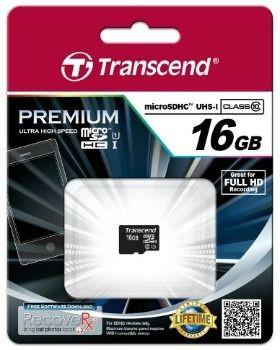 Transcend karta pamięci Micro SDHC 16GB Class 10 UHS-I U1 ( Full HD )