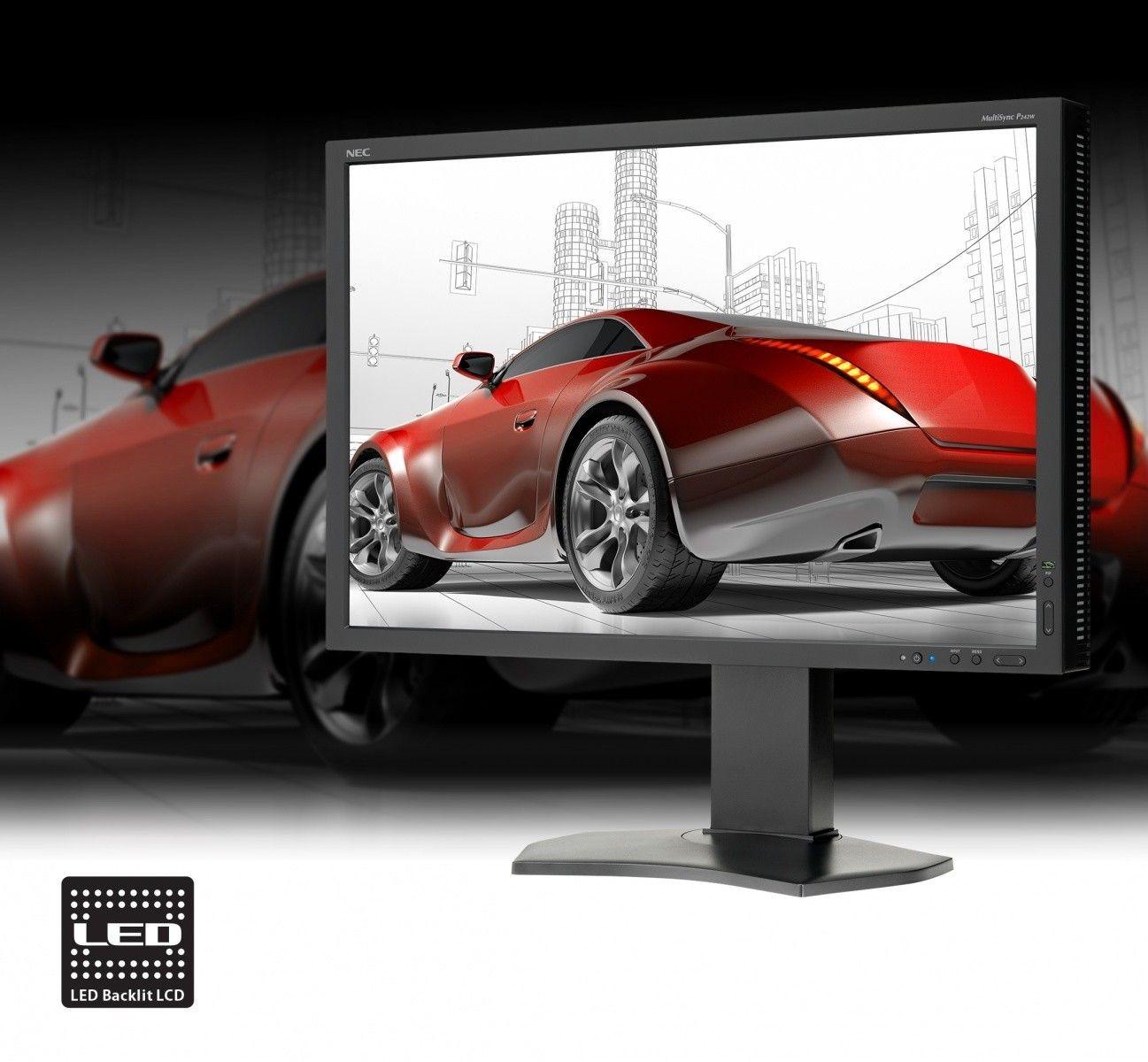 NEC Monitor P242W 24inch, IPS, DVI/HDMI/DP, czarny