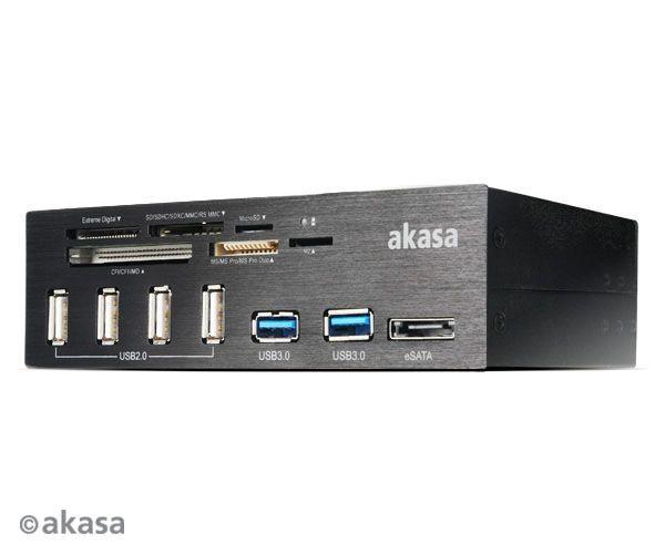 Akasa CZYTNIK KART & USB HUB AK-HC-05U3BK 5.25 PC bay