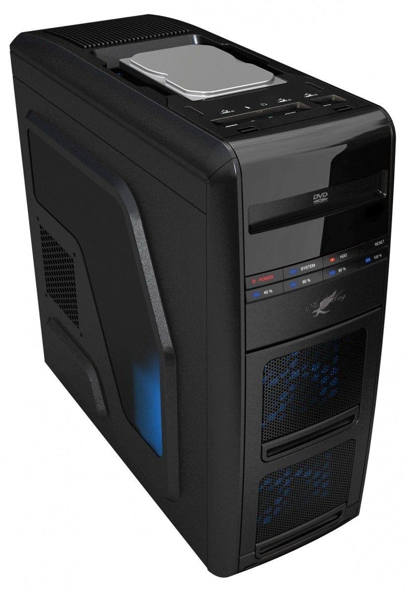 LC-Power OBUDOWA CASE-PRO-975B 'AIR WING' MIDITOWER FRONT 1 X USB 3.0 2X USB 2.0 HD-AUDIO 2x120mm BLUE LED FAN BEZNARZEDZIOWA CZARNA BEZ ZAS