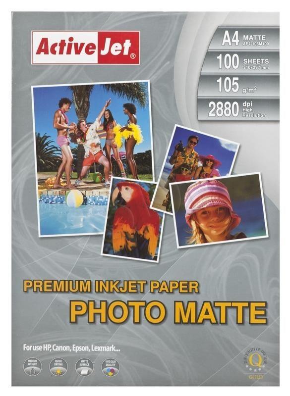 ActiveJet Papier fotograficzny matowy A4 100szt. 105g/m2 (do drukarek atramentowych)