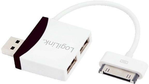 LogiLink - 2-portowy HUB USB2.0 z kablem Dock connector