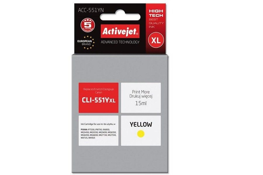 ActiveJet Tusz ActiveJet ACC-551YN | Yellow | 10 ml | Canon CLI-551Y