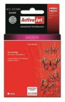 ActiveJet Tusz ActiveJet ACC-551MN | Magenta | 10 ml | Canon CLI-551M