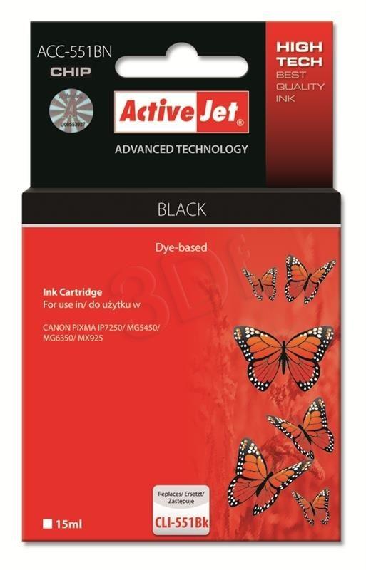 ActiveJet Tusz ActiveJet ACC-551BN | Czarny | 10 ml | Canon CLI-551BK