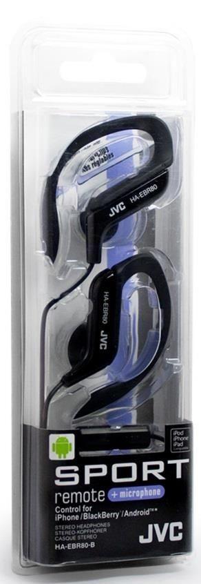 JVC Słuchawki sportowe HA-EBR80-B membrana neodymowa 13.5mm, Pilot&mic