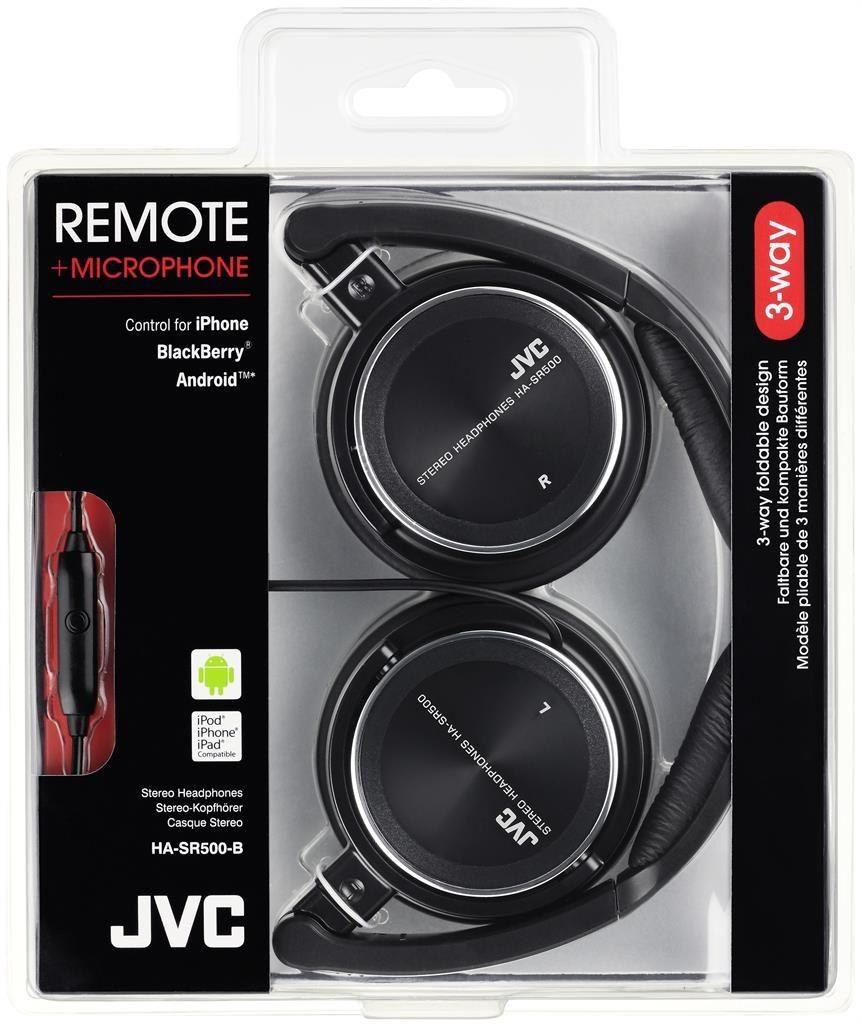 JVC Słuchawki nauszne HA-SR500-B* pilot, przewód 1.2m