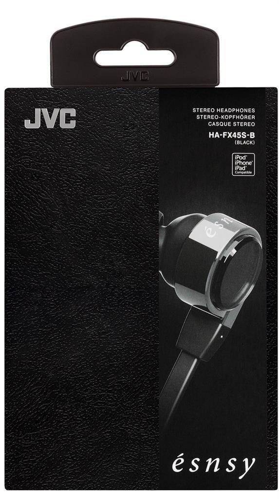 JVC Słuchawki dokanałowe HA-FX45S-B 8.5mm przetwornik, wkładki S/M/L