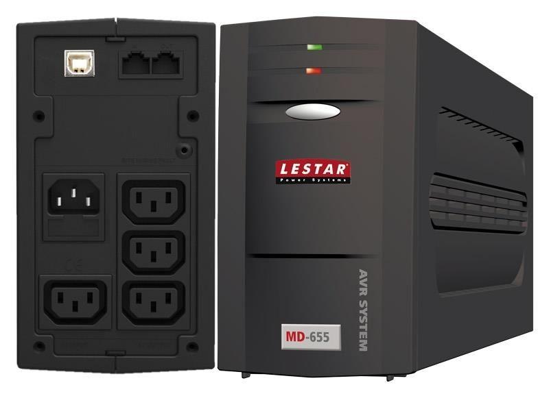 Lestar UPS MD-655 L-INT 375W AVR 3+1xIEC USB RJ LED BL