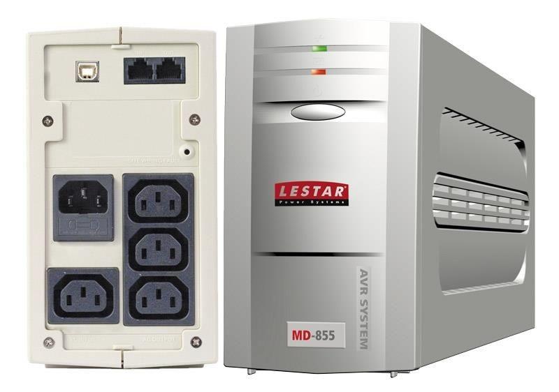 Lestar UPS L-INT MD-855 480W AVR 3+1xIEC USB RJ LED GR