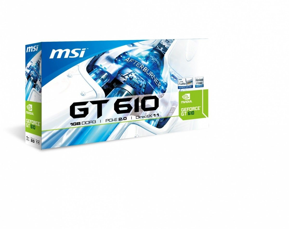 MSI KARTA PCI-E 1024MB GEFORCE GT610 64bit DDR3 Dual DVI/HDMI/D-Sub LP Heatsink retail / MSI