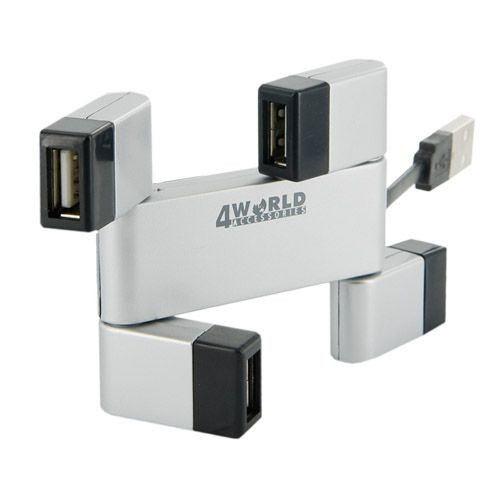 4World HUB USB 2.0 Folded 4 porty srebrny