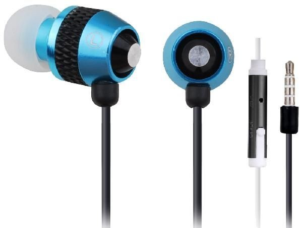 Gembird metalowe słuchawki stereo douszne MP3, 3.5mm Jack, niebieskie