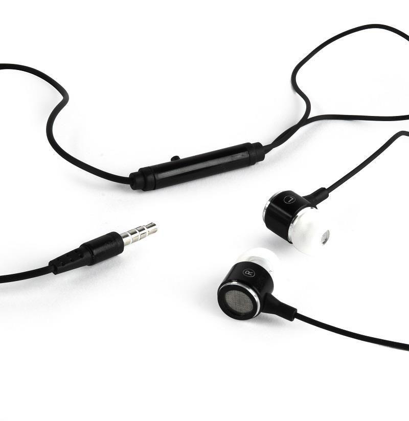 Gembird metalowe słuchawki stereo douszne MP3, 3.5mm Jack, czarno-białe
