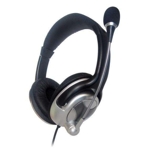 Gembird słuchawki stereofoniczne z mikrofonem i regulacją głośności,czarno-srebr