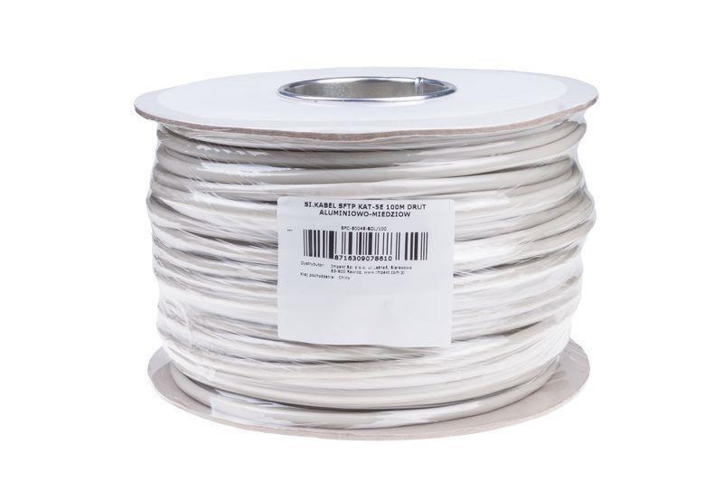 Gembird kabel instalacyjny skrętka SFTP, 4x2, kat. 5e, drut AL-CU, 100m, szary