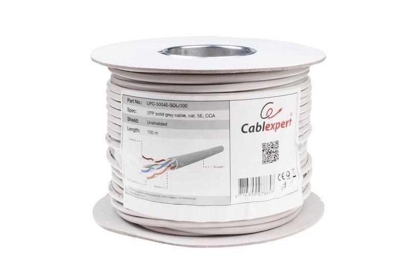 Gembird kabel instalacyjny UTP kat. 5e, drut AL-CU, CCA, 100 m (rolka), szary