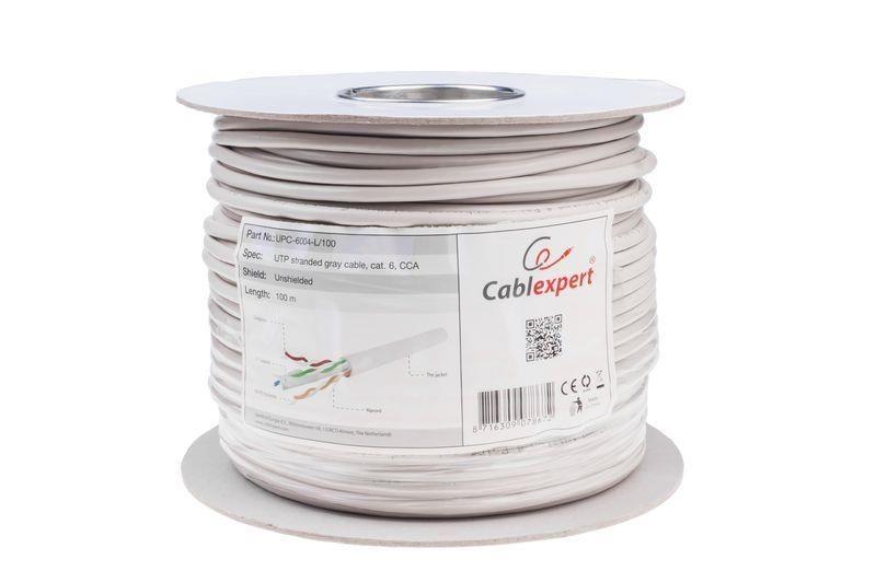 Gembird kabel instalacyjny UTP, 4x2, kat. 6, 7*0,18mm, linka AL-CU, 100m, szary