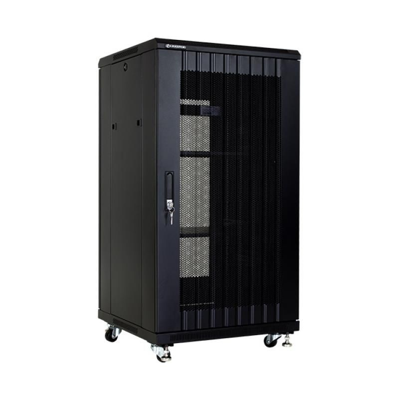 Linkbasic szafa stojąca rack 19'' 22U 600x600mm czarna (drzwi perforowane)