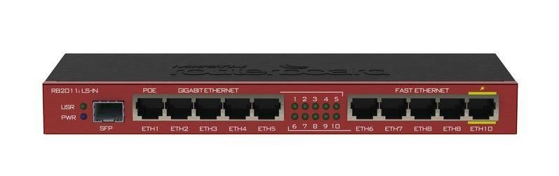 MikroTik Mikrotik RB2011iLS-IN L4 64MB RAM, 5xLAN, 5xGig LAN, 1xSFP, Desktop, 1xPoE Out