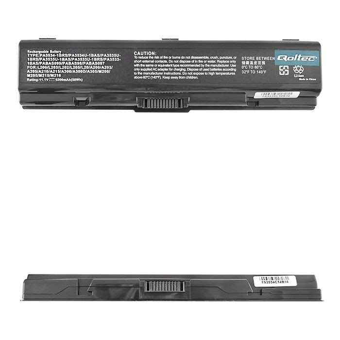 Qoltec Bateria do laptopa - TOSHIBA A200 A300, 10.8 V | 5200 mAh