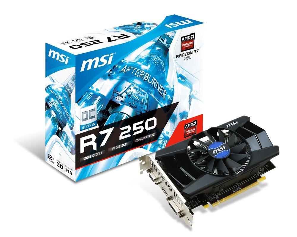 MSI KARTA PCI-E 2048MB RADEON R7 250 OC 128bit DDR3 DVI/HDMI/D-Sub retail /MSI