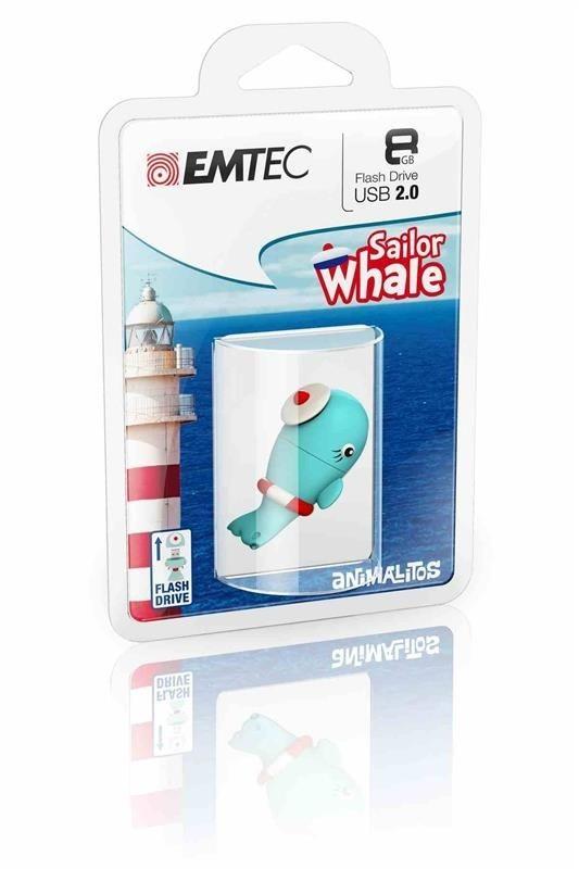 Emtec Pendrive (Pamięć USB) 8 GB USB 2.0 Błękitno-biało-czerwony