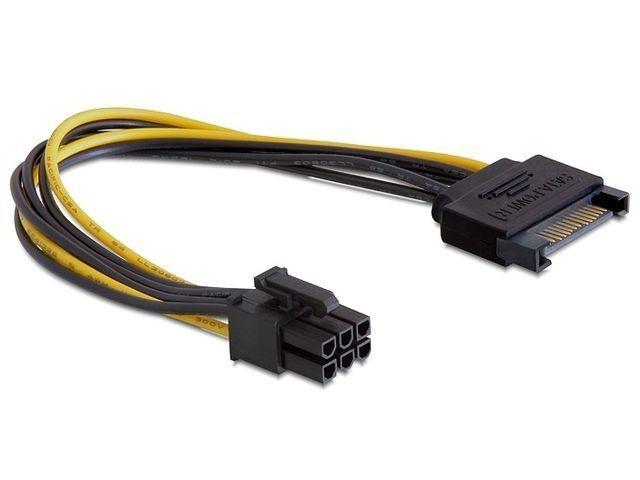 DeLOCK kabel SATA zasilający (M)-> PCI Express 6-pin, 0,21m