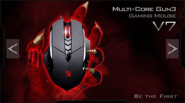 A4 Tech A4tech BLOODY V7 herní myš, až 3200DPI, HoleLess technologie, 160KB paměť, USB, CORE 2, kovové podložky