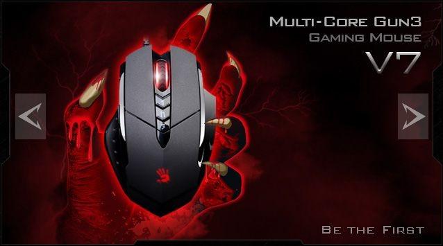 A4 Tech A4tech BLOODY V7 herní myš, až 3200DPI, HoleLess technologie, 160KB paměť, USB, CORE 3, kovové podložky